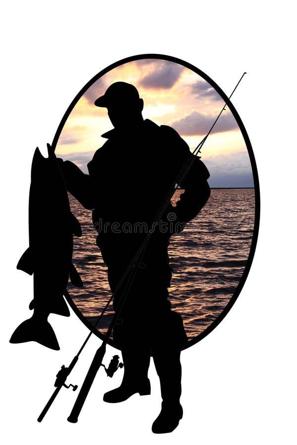 Silhouet van visser met een vis op rivierbac royalty-vrije illustratie