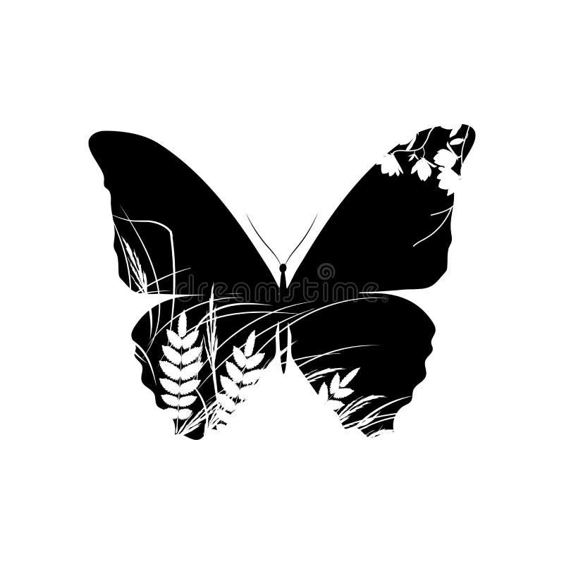 Silhouet van vlinder met gras royalty-vrije illustratie