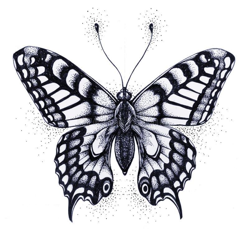 Silhouet van vlinder Symbool van ziel, onsterfelijkheid, wedergeboorte en verrijzenis Zwart-witte Tatoegering royalty-vrije illustratie