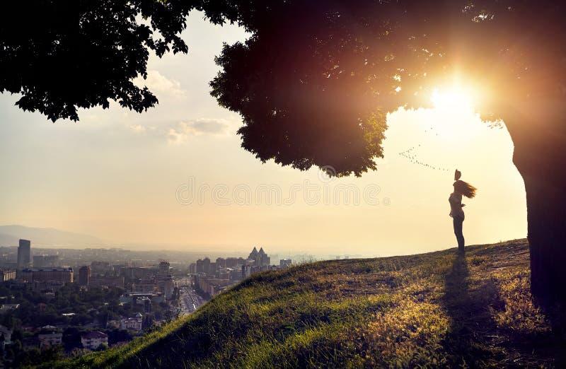 Silhouet van vrouw bij de mening van de zonsondergangstad royalty-vrije stock afbeelding
