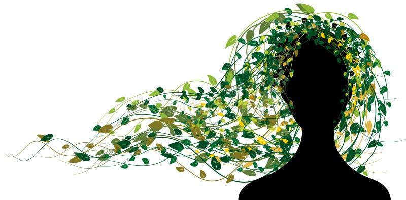 Silhouet van vrouw met haar van bladeren vector illustratie