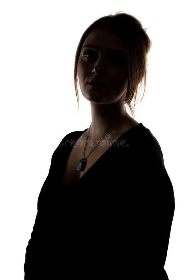 Silhouet van vrouw met halslijn royalty-vrije stock afbeeldingen