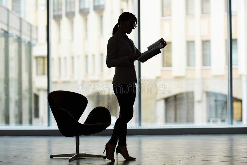 Silhouet van Vrouwelijke Manager royalty-vrije stock afbeelding
