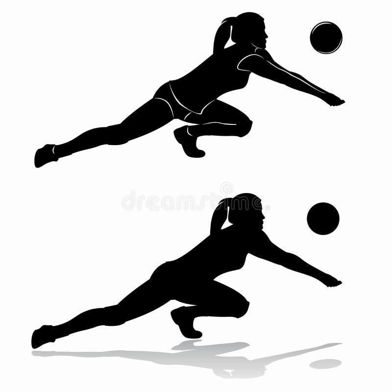 Silhouet van vrouwen speelvolleyball stock foto's