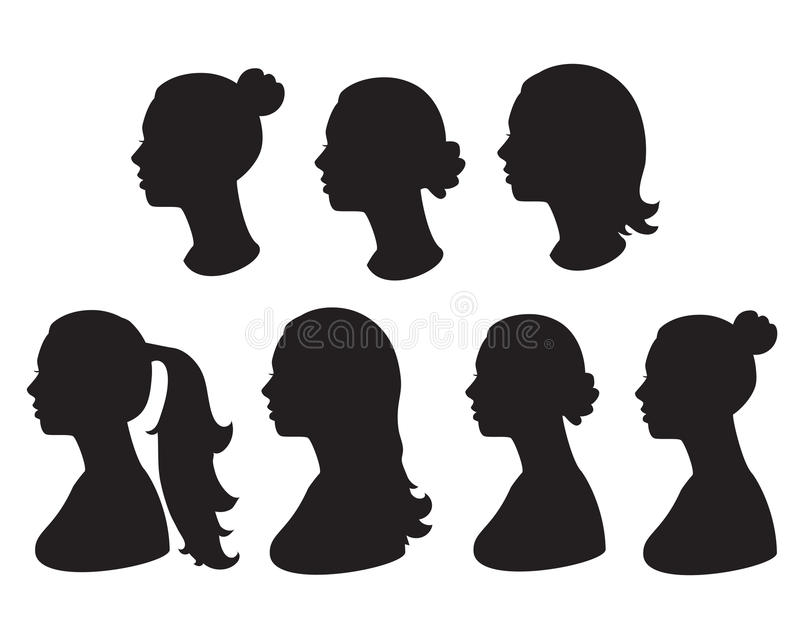Silhouet van vrouwenhoofd stock illustratie