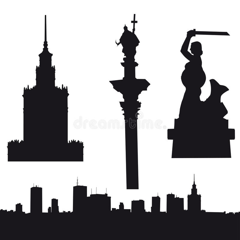Silhouet van Warshau in Polen royalty-vrije illustratie