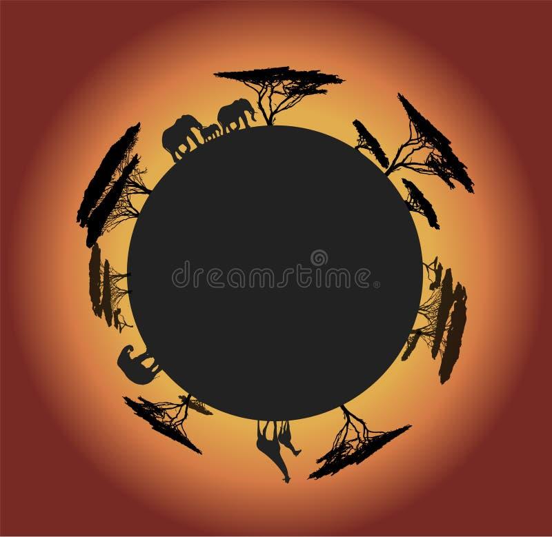 Silhouet van wereld met dieren stock foto