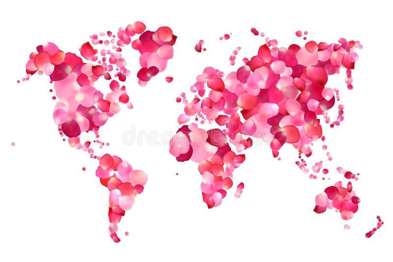 Silhouet van wereldkaart van roze bloemblaadjes vector illustratie