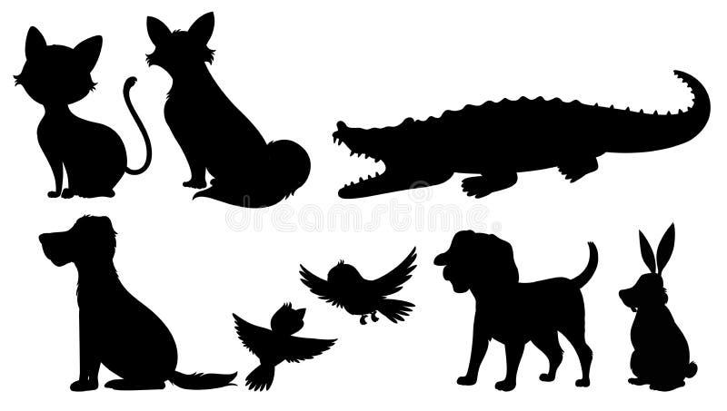 Silhouet van wilde dieren royalty-vrije illustratie