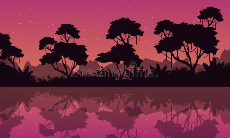 Silhouet van wildernis met bezinning bij nacht vector illustratie
