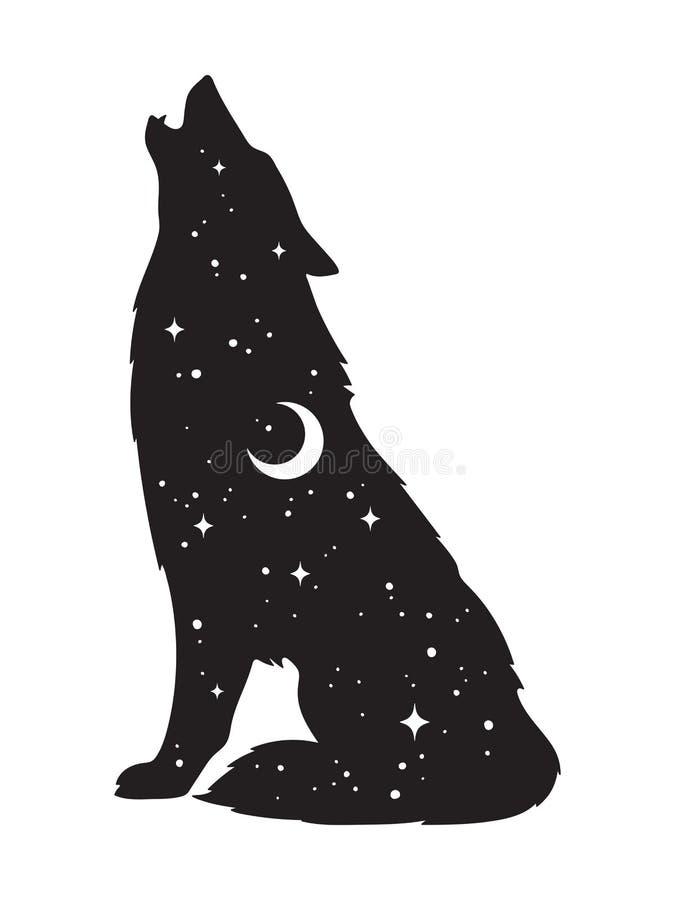 Silhouet van wolf met toenemende maan en geïsoleerde sterren Sticker, het zwarte werk, druk of het ontwerp vectorillustratie van  vector illustratie