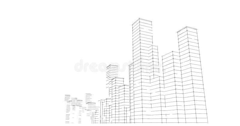 Silhouet van wolkenkrabbers op een witte achtergrond De tekening van de schetslijn vector illustratie