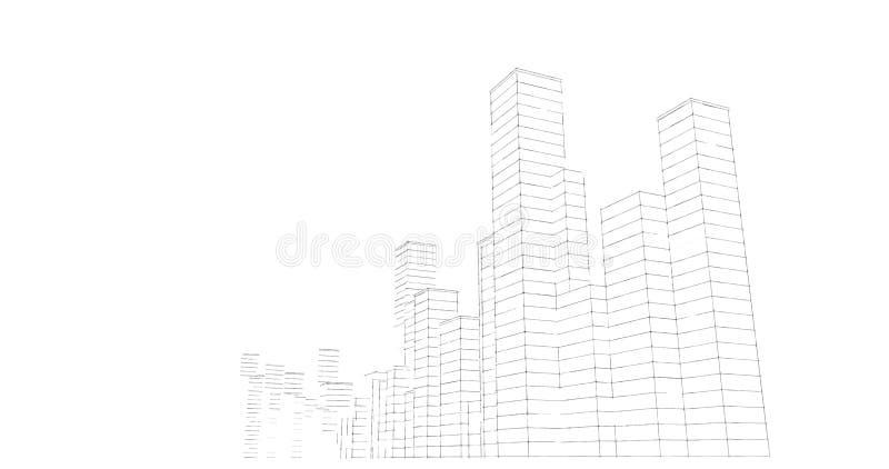 Silhouet van wolkenkrabbers op een witte achtergrond De tekening van de schetslijn royalty-vrije illustratie