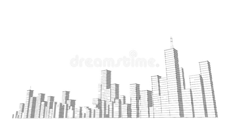 Silhouet van wolkenkrabbers op een witte achtergrond De tekening van de schetslijn stock illustratie