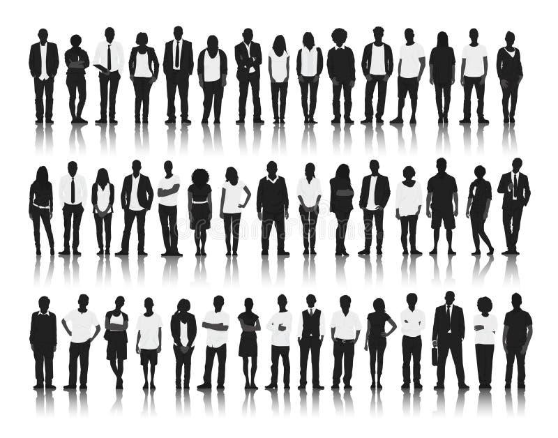 Silhouet van Zaken en Toevallige Mensen stock illustratie