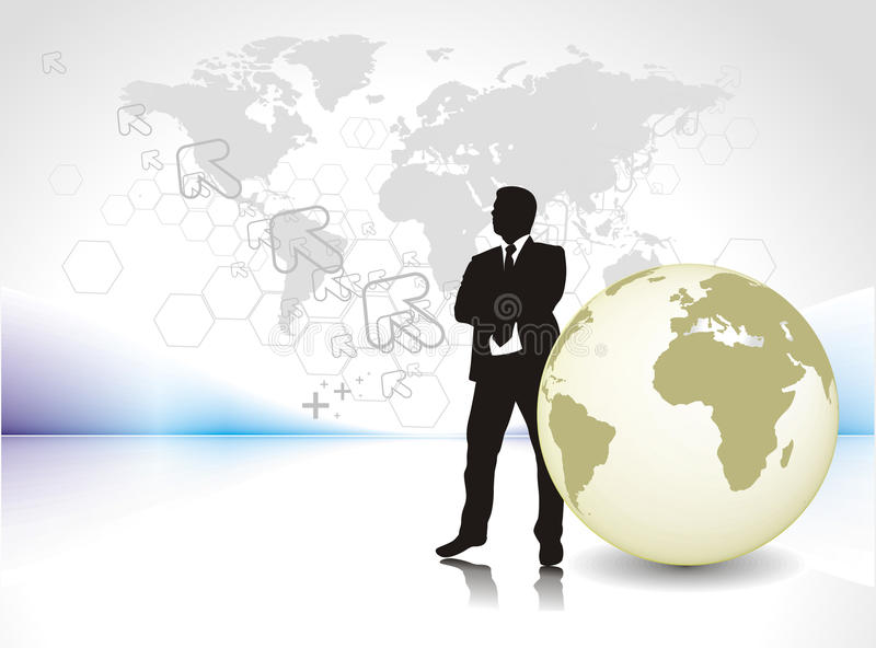 Silhouet van zakenman stock illustratie
