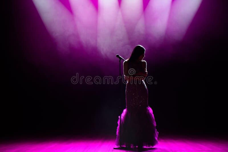 Silhouet van zanger op stadium Donkere achtergrond, rook, schijnwerpers stock foto