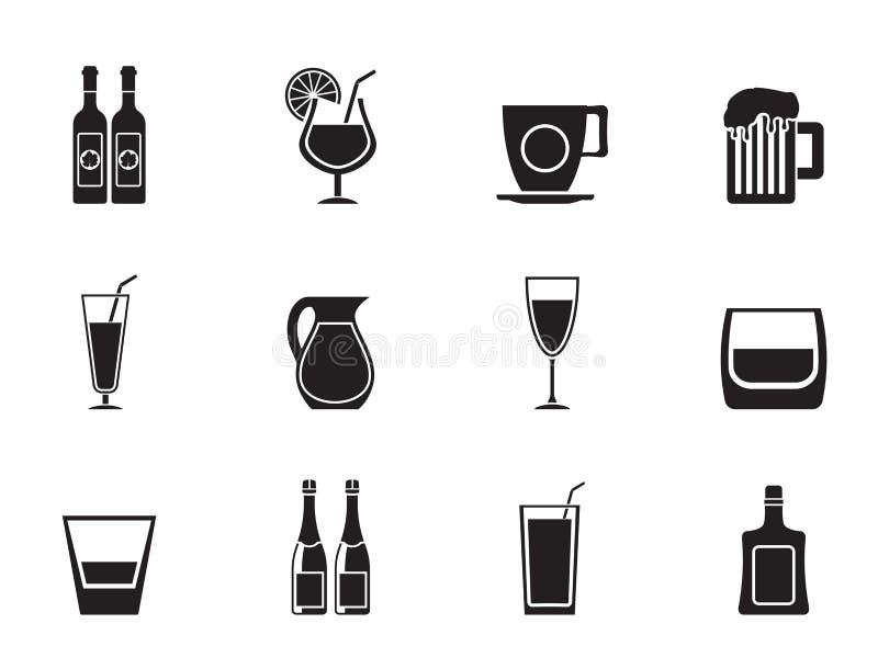 Silhouet verschillend soort drankpictogrammen stock illustratie
