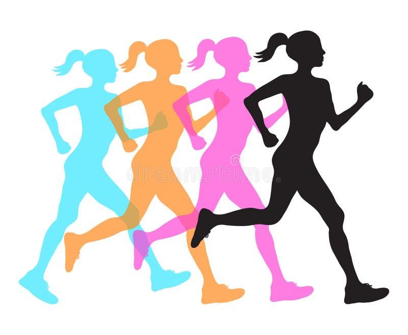 Silhouet vier van het runnen van de zwarte, oranje roze en blauwe bekleding van het vrouwenprofiel, geschiktheidsconcept, vectore stock illustratie