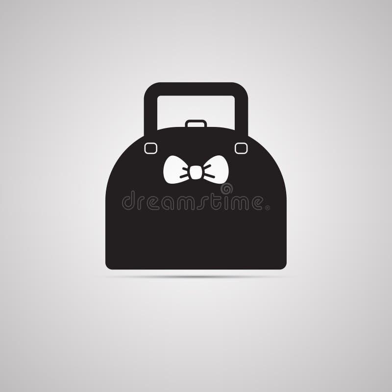 Silhouet vlak pictogram, eenvoudig vectorontwerp met schaduw Dameshandtas royalty-vrije illustratie