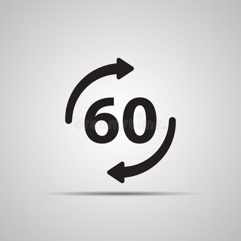 Silhouet vlak pictogram, eenvoudig vectorontwerp met schaduw Ronde met pijl en symbool 60 stock illustratie