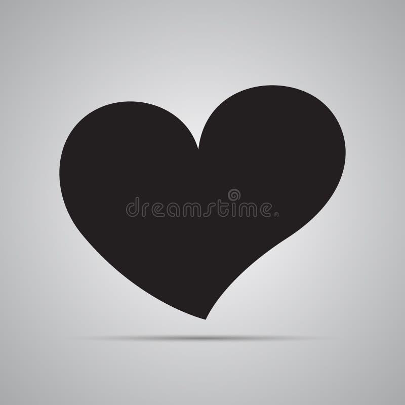 Silhouet vlak pictogram, eenvoudig vectorontwerp met schaduw Zwart asymmetrisch gebogen hart stock illustratie
