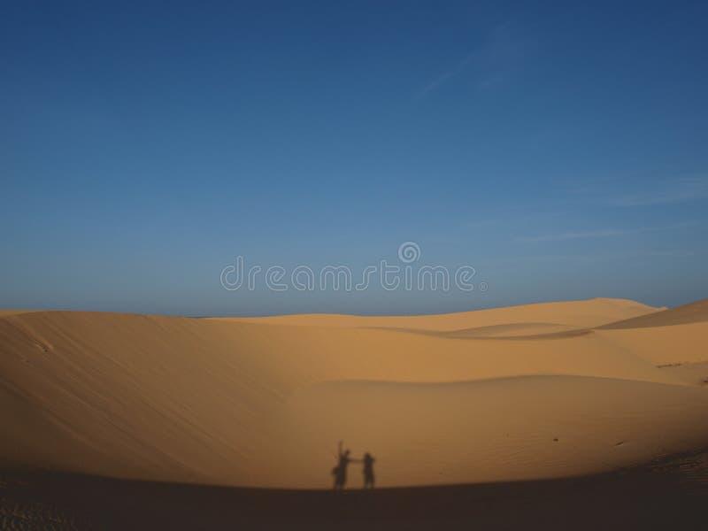 Silhouet in woestijn stock foto's