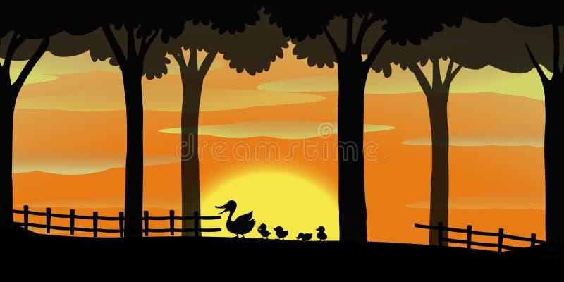 Silhouetachtergrond met eenden op het landbouwbedrijf royalty-vrije illustratie