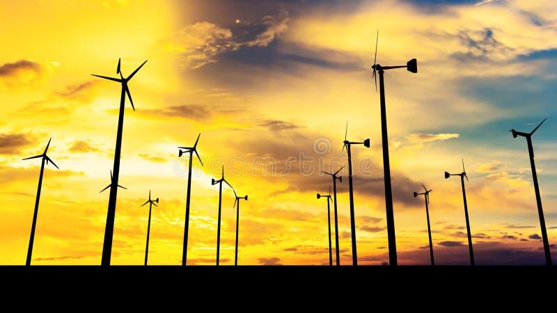 Silhouetbeeld van Windturbine stock illustratie