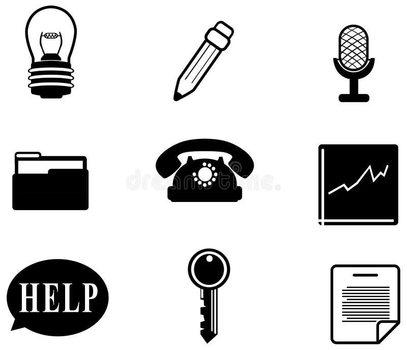 Silhouetbureau en bedrijfs divers pictogram  vector illustratie