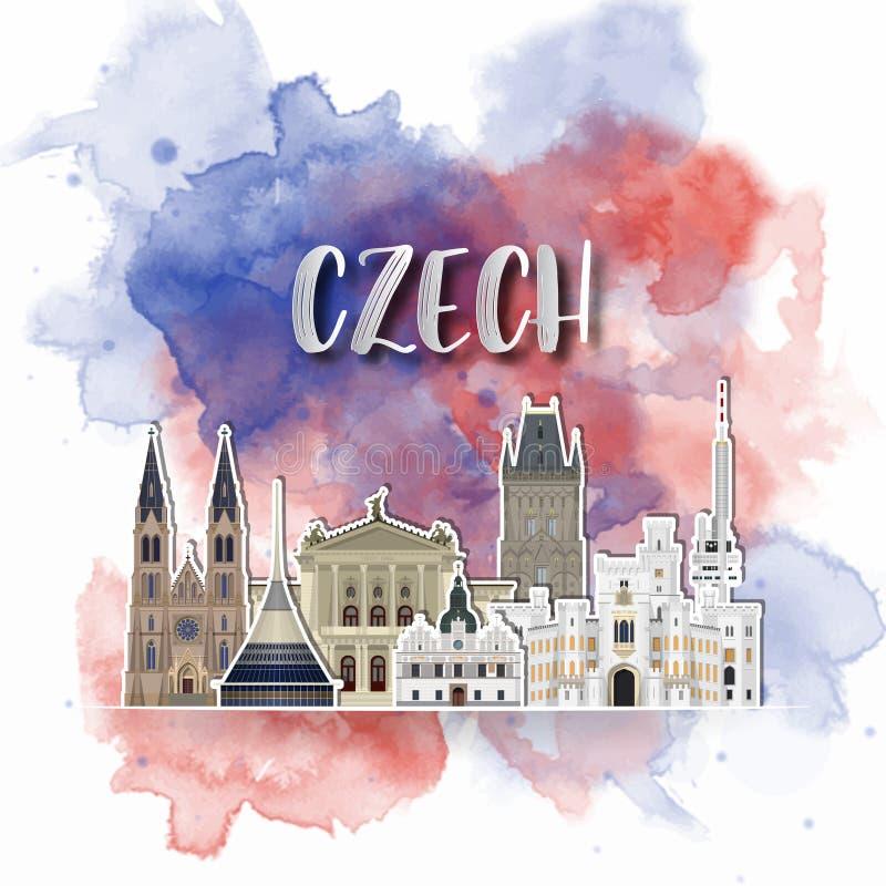 Silhouetdocument van Tsjech op de plonswaterverf in kleur van Globale Vlag Vector ontwerpmalplaatje gebruik voor zaken, banner, vector illustratie