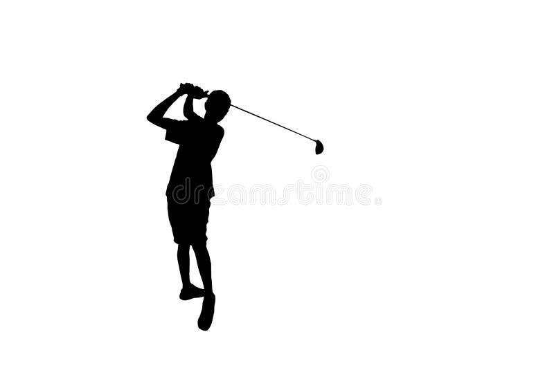 Silhouetgolfspeler die golfschot raken dat op witte achtergrond wordt geïsoleerd royalty-vrije illustratie