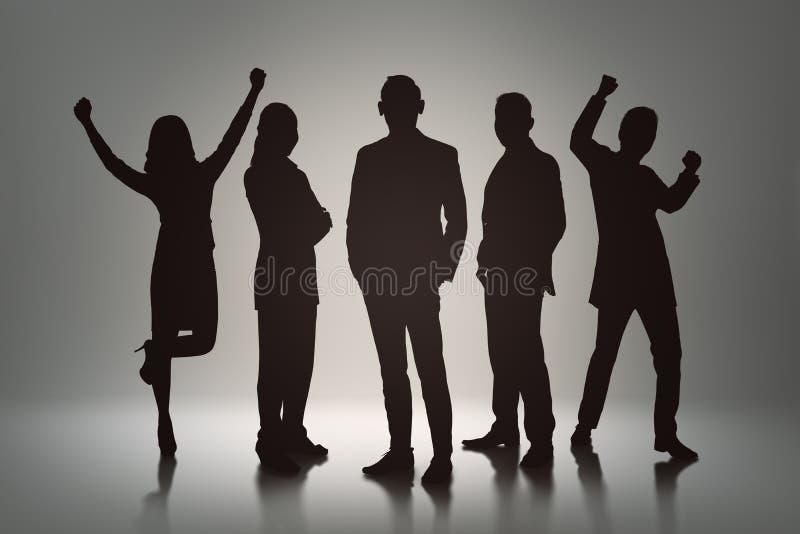 Silhouetgroep bedrijfsmensen met vrolijke uitdrukking vector illustratie