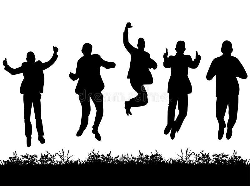 Silhouetgroep mensen die in kostuums springen vector illustratie