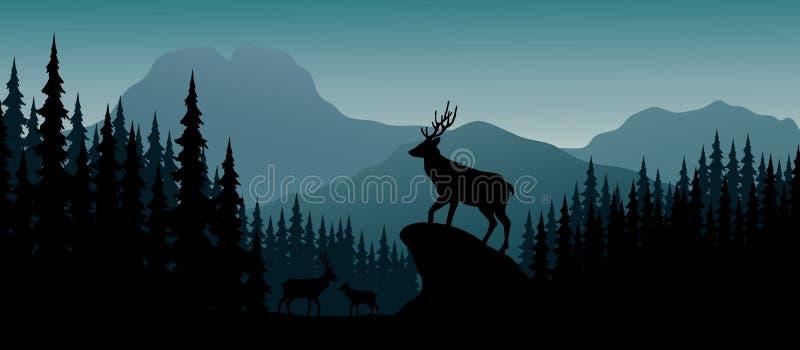 Silhouetherten in heuvel bij nacht vector illustratie