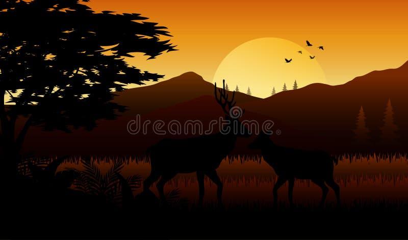 Silhouetherten in savanah op zonsondergang royalty-vrije illustratie