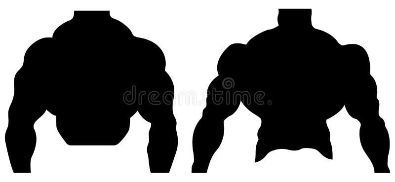 Silhouetillustratie van een bodybuilder Mannelijke spieranatomie Vector illustratie stock illustratie