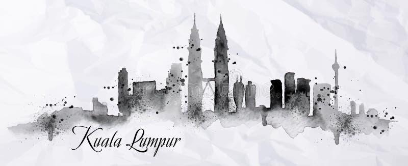 Silhouetinkt Kuala Lumpur royalty-vrije illustratie