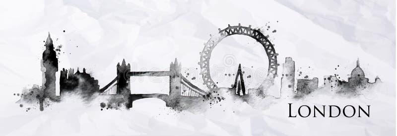 Silhouetinkt Londen vector illustratie