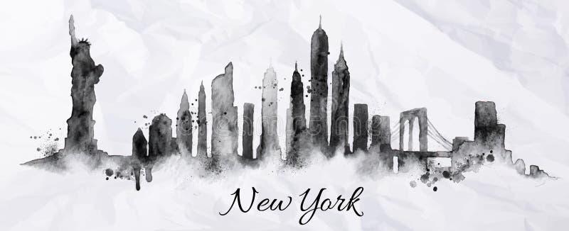 Silhouetinkt New York stock illustratie