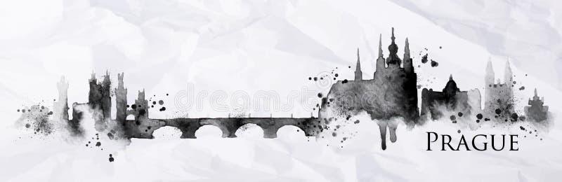 Silhouetinkt Praag stock illustratie