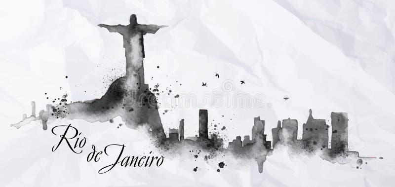 Silhouetinkt Rio de Janeiro stock illustratie