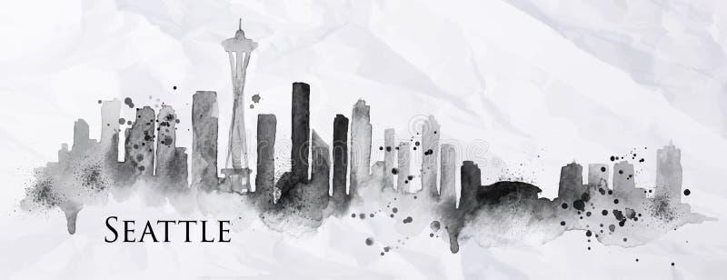 Silhouetinkt Seattle vector illustratie