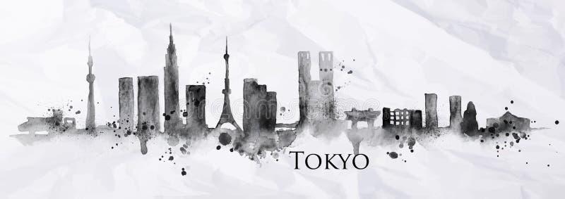 Silhouetinkt Tokyo vector illustratie