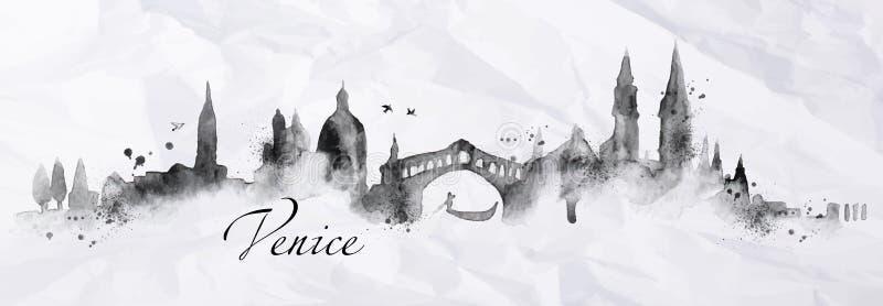 Silhouetinkt Venetië vector illustratie