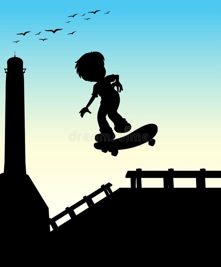 Silhouetjongen die op de straat met een skateboard rijden vector illustratie