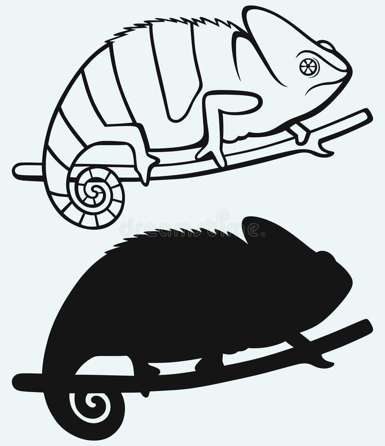 Silhouetkameleon vector illustratie
