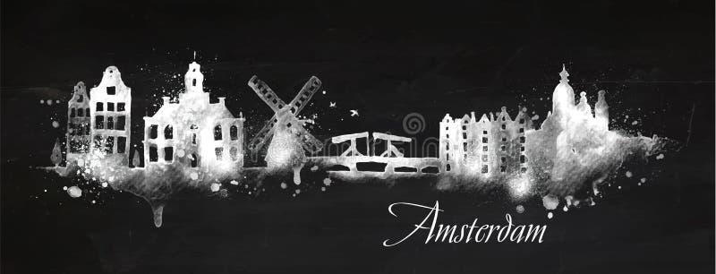 Silhouetkrijt Amsterdam vector illustratie