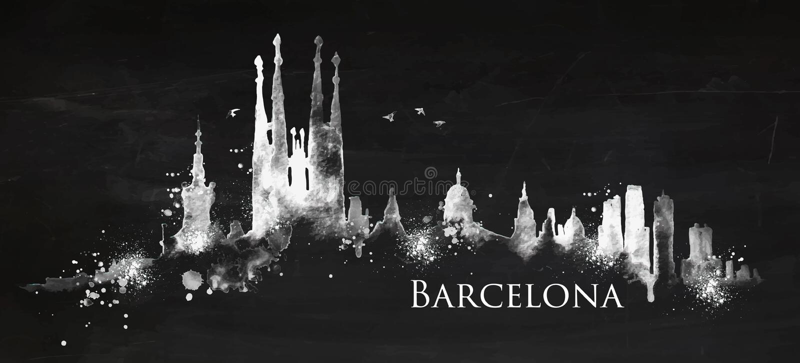 Silhouetkrijt Barcelona vector illustratie
