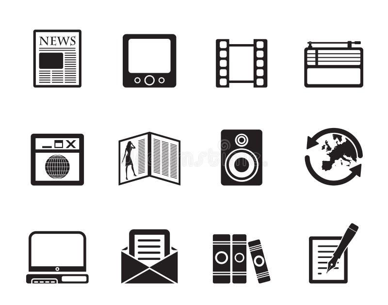 Silhouetmedia en informatiepictogrammen royalty-vrije illustratie